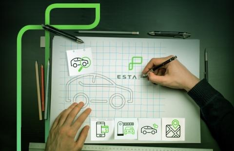 na imagem tem uma mão desenhando o logotipo da estapar e alguns icones que condiz com cada produto da empresa