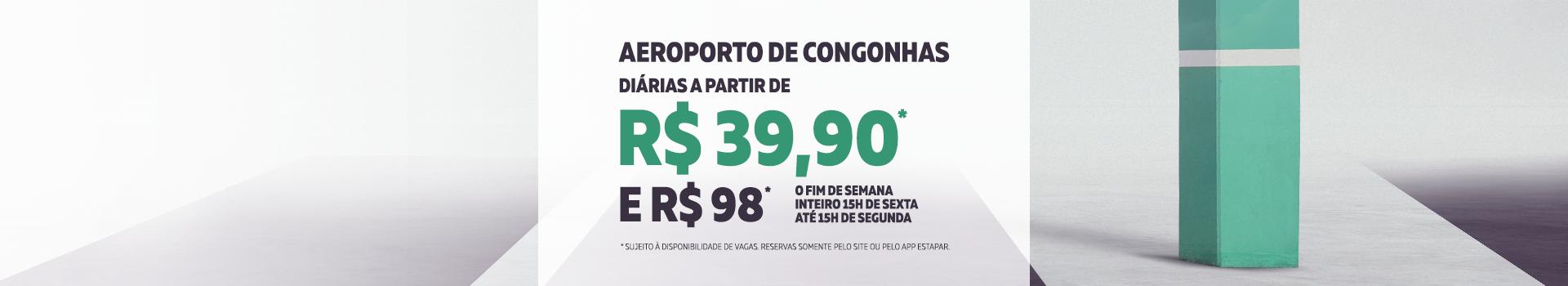 Diárias a partir de R$39,90 no estacionamento oficial do Aeroporto de Congonhas (CGH) em São Paulo.