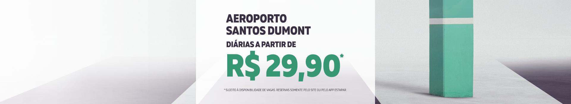 Diárias a partir de R$29,90 no estacionamento oficial do Aeroporto Santos Dumont (SDU) no Rio de Janeiro..
