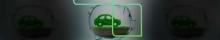 Na imagem tem um carrinho feito de plantas dentro de um porco de vidro simbolizando valor e o P da estapar envolvo na imagem